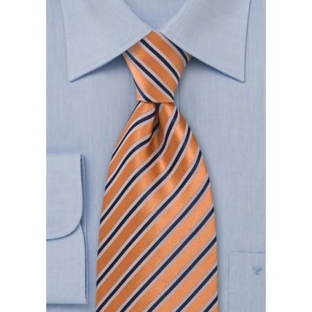 Orange and Navy Striped Tie