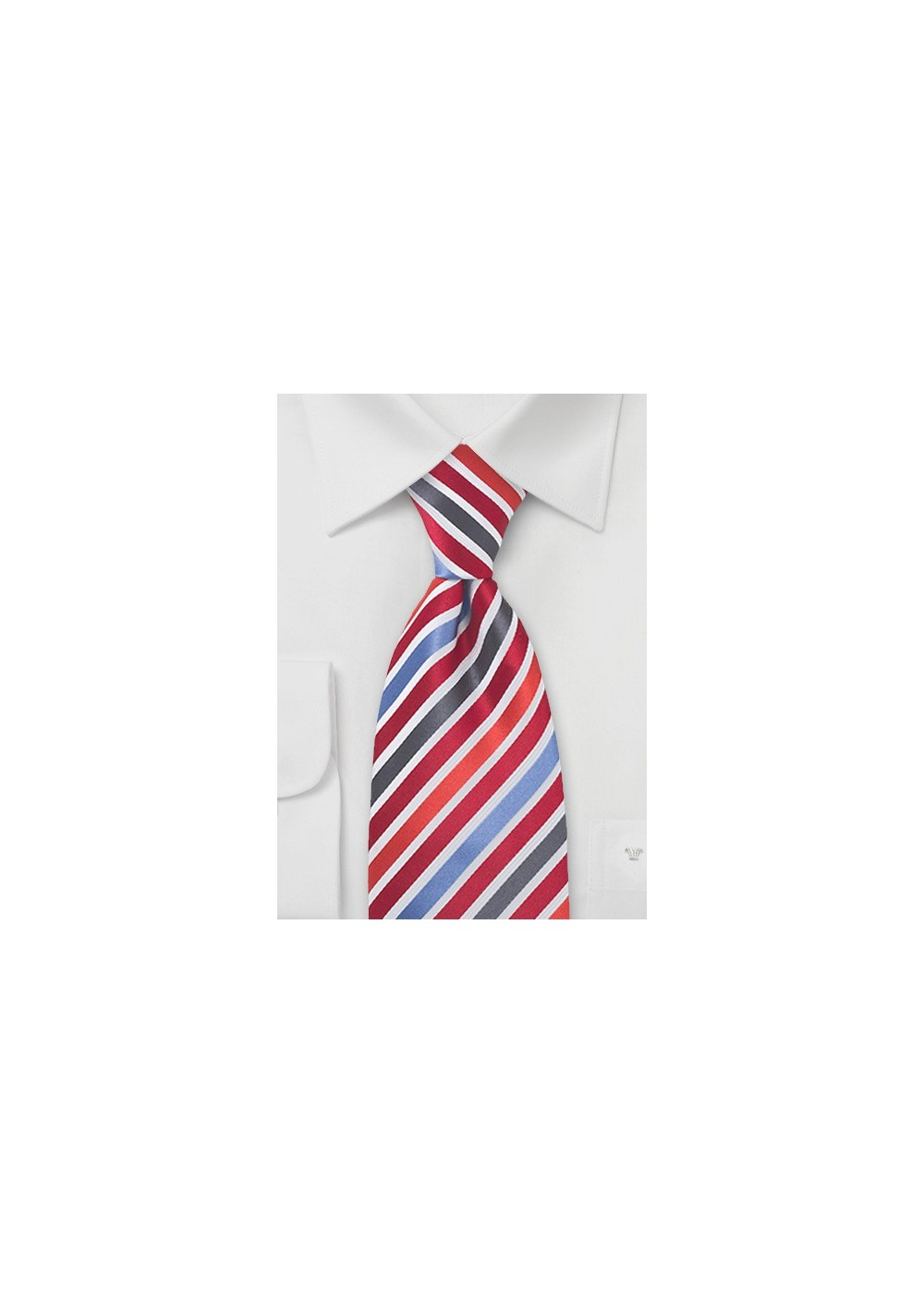 Trendy Red and Blue Striped Tie