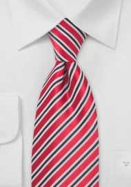 Cherry Red and Black Striped Tie