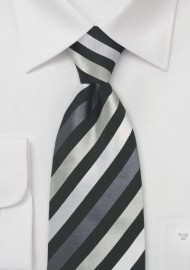 Black and Silver Mens Silk Tie