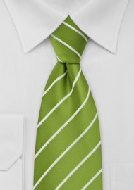 XL Chartreuse Green Striped Tie