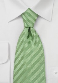 Light Green Striped Silk Tie
