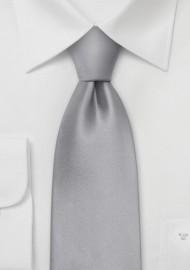 Solid Bright Silver Silk Kids Tie