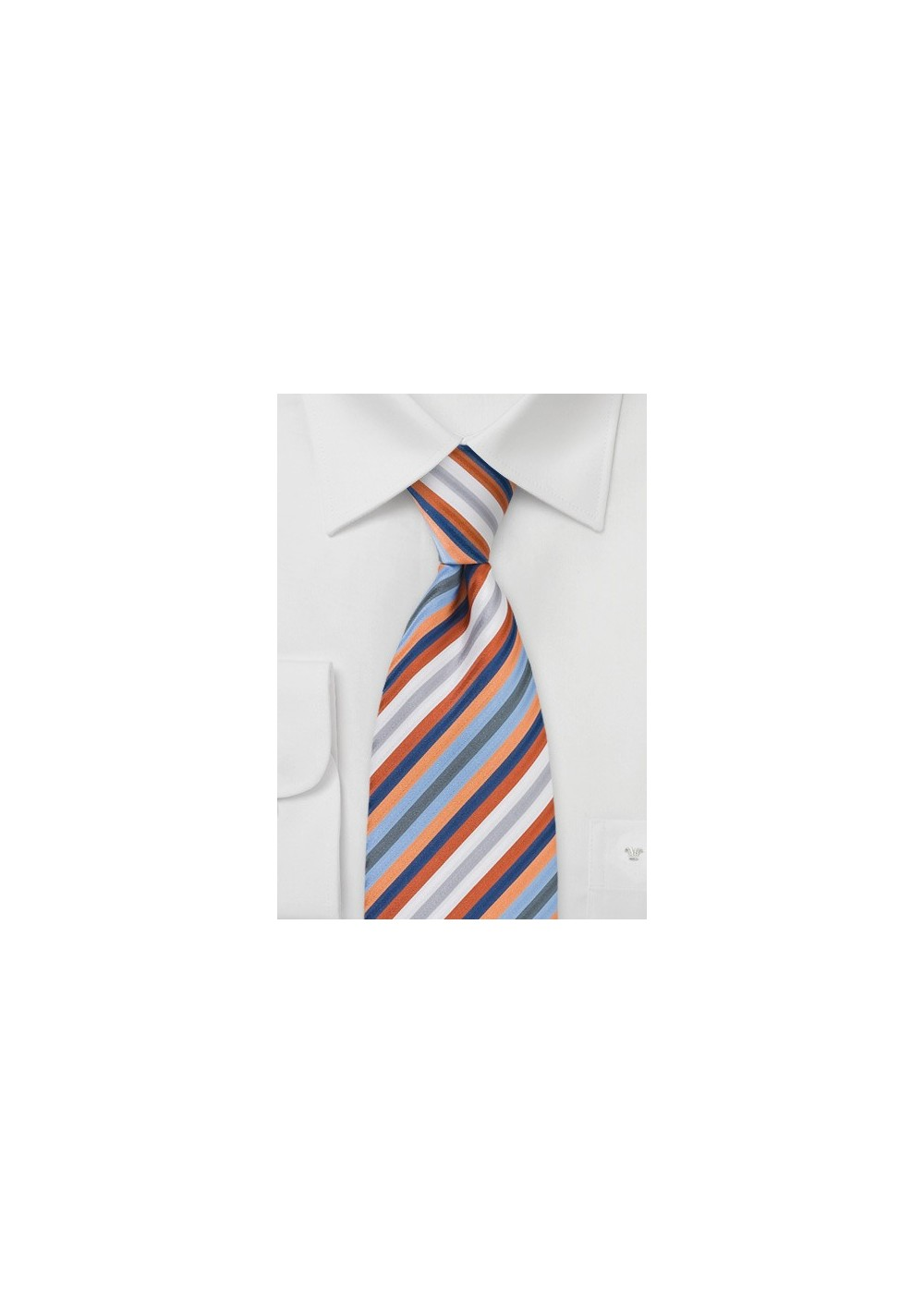 Striped Tie in Orange, Blue, White