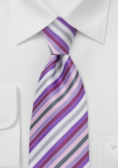 Lavender Purple Striped Tie
