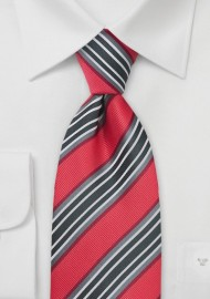 Coral Red and Gray Striped Tie