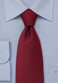 Solid Ribbed Tie in Deep Red