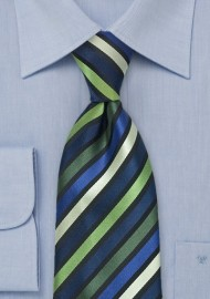Striped Tie in Green, Navy, Black