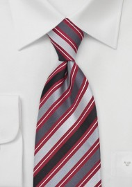 Striped Tie in Silver, Gray, Red