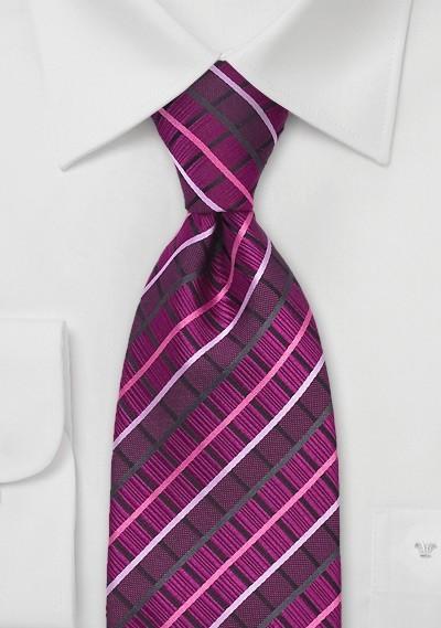 Hot Pink Checkered Tie