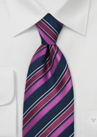 Fuschia and Navy Striped Tie