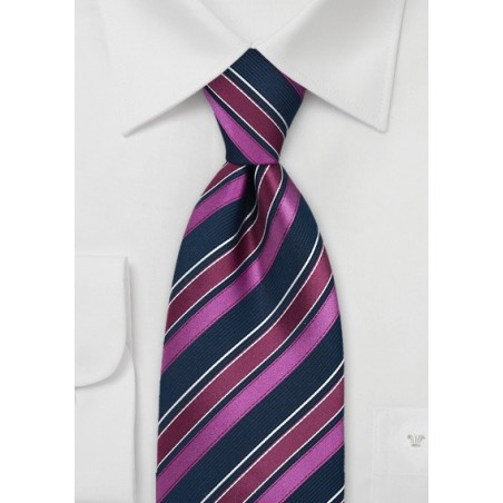 Fuschia and Navy Striped Tie