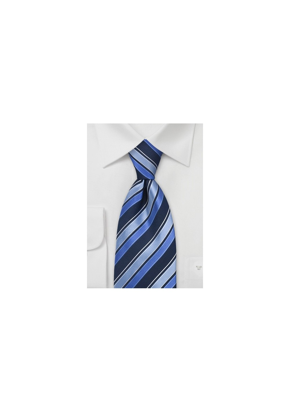 Trendy Blue Striped Silk Tie