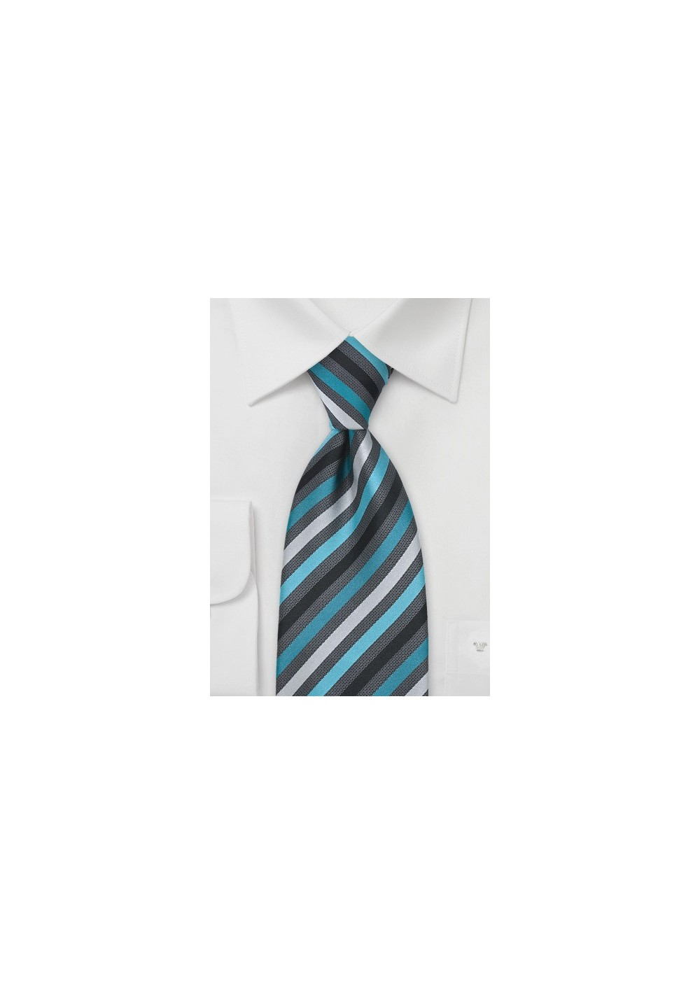 Teal and Gray Striped Tie