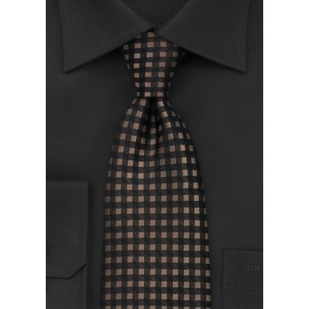 Brown and Black Gingham Tie