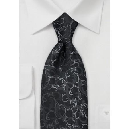 Black Scroll Pattern Silk Tie
