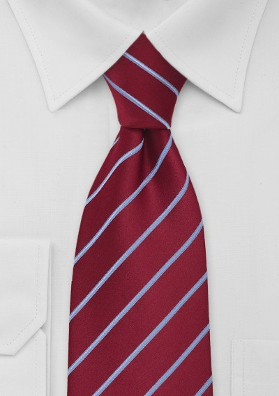 Cherry Red and Light Blue Clip-On Tie