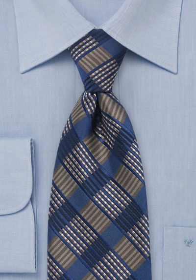 Checkered Tie in Navy & Brown