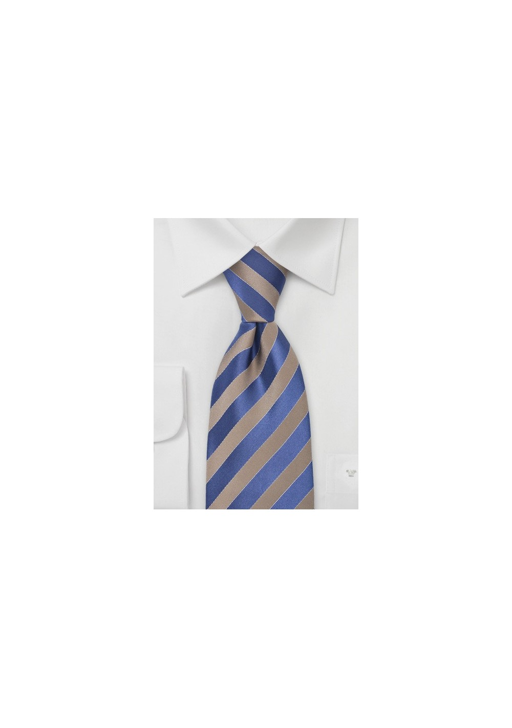 Bronze and Royal Blue Striped Tie