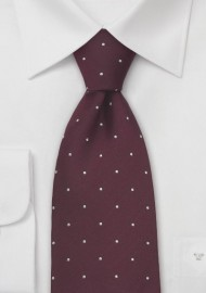 Burgundy and White Polka Dot Tie iin XL