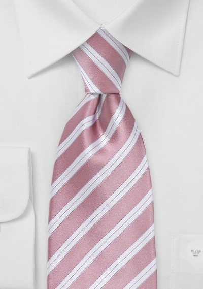 Striped Tie in Rose Petal Pink