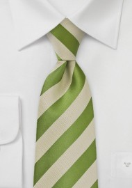 Fern Green and Tan Striped Tie