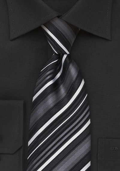 Striped Tie in Black and Whites
