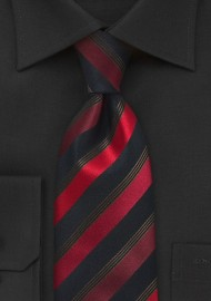 Striped Red and Black Tie
