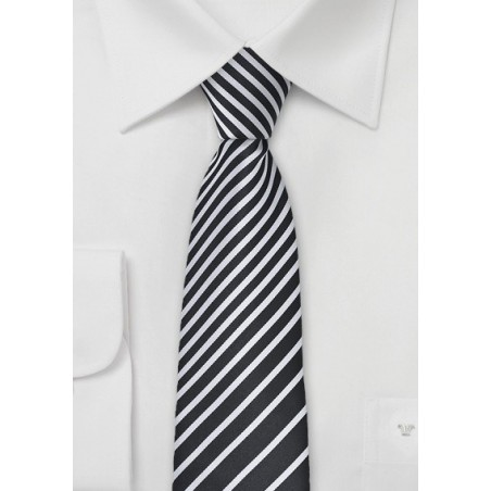 Striped Skinny Tie in Black and White