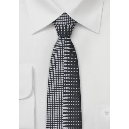 Retro Patterned Skinny Tie in Black