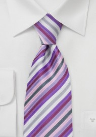 Lavender Purple Striped Kids Tie
