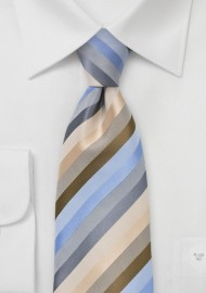 Striped Tie in Tans and Blues