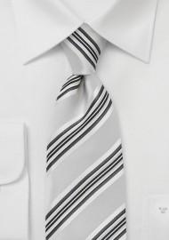Striped Tie in Soft Silver