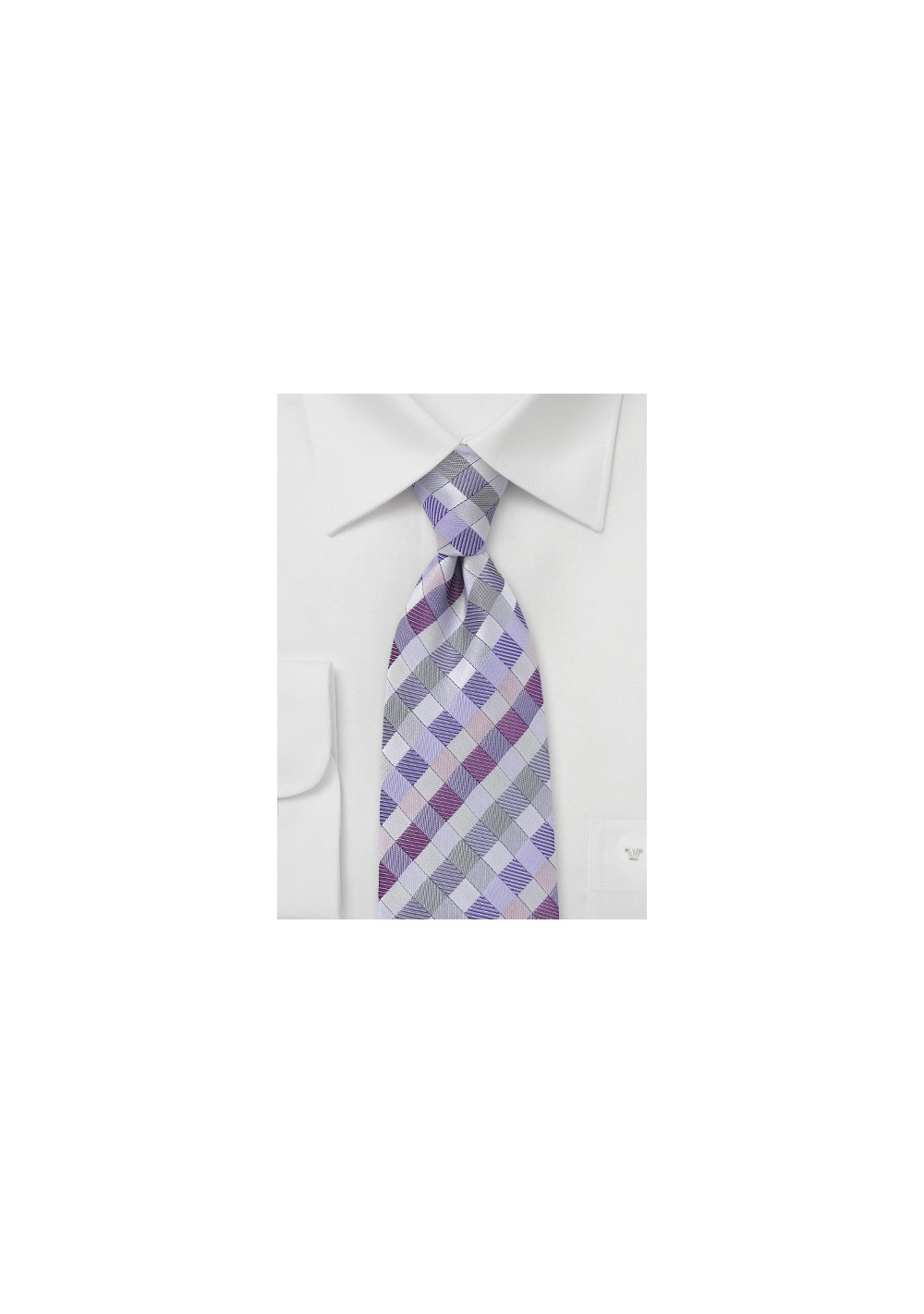 Patchwork Tie in Silvers and Purples