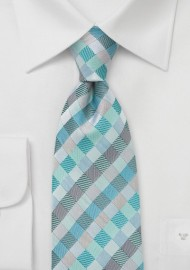 Patchwork Patterned Tie in Aquas