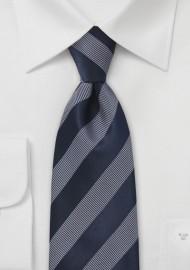 Sleek Striped Tie in Midnight Blue and White