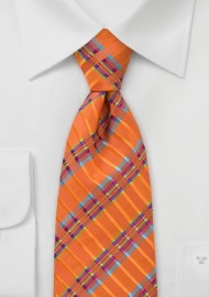 Vibrant and Modern Tie in Tangerine Orange