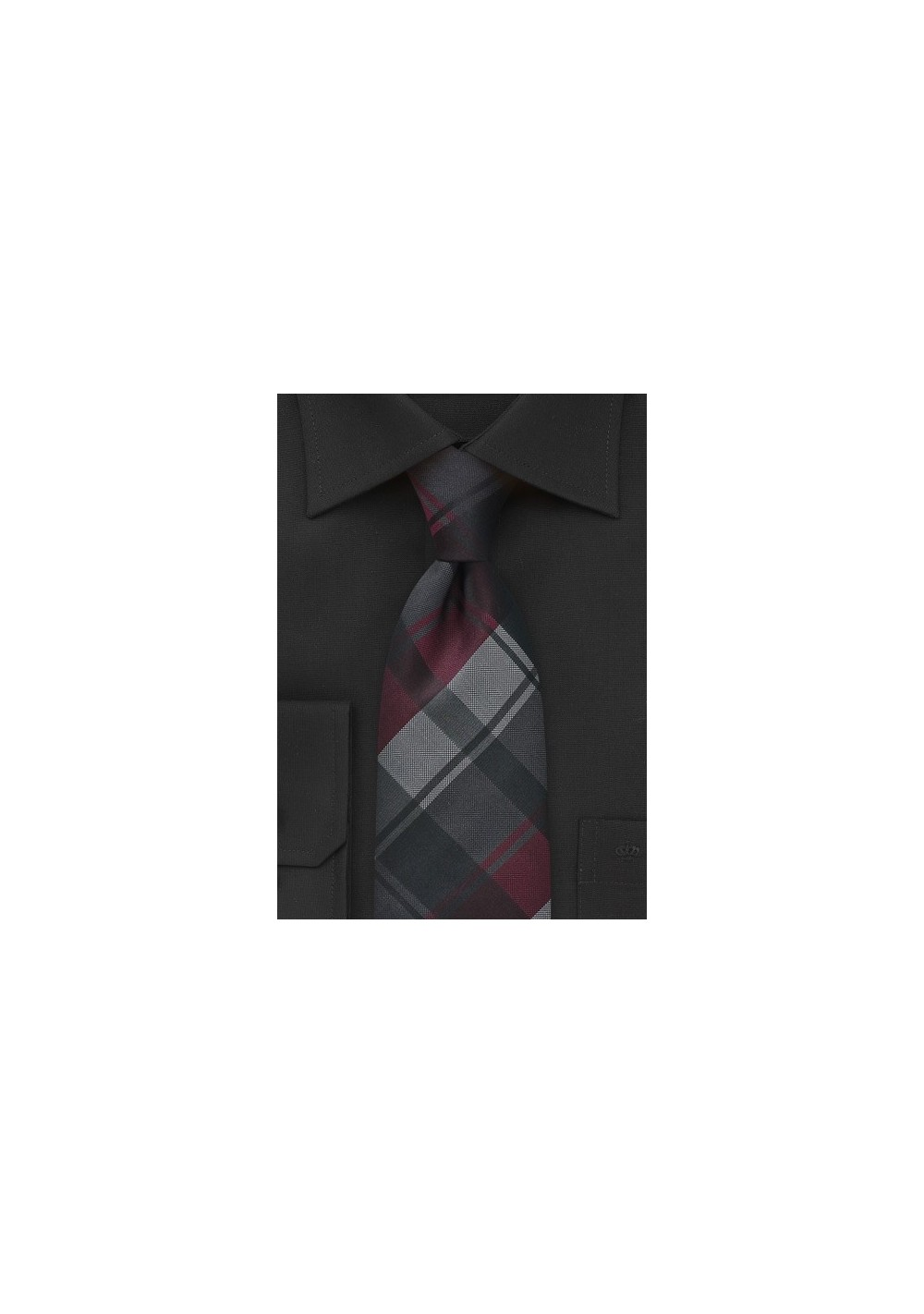 Plaid Tie in Charcoals and Merlots
