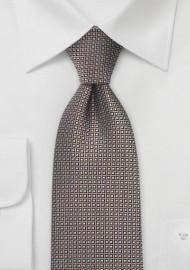 Retro Print Tie in Pewter, Copper, Black