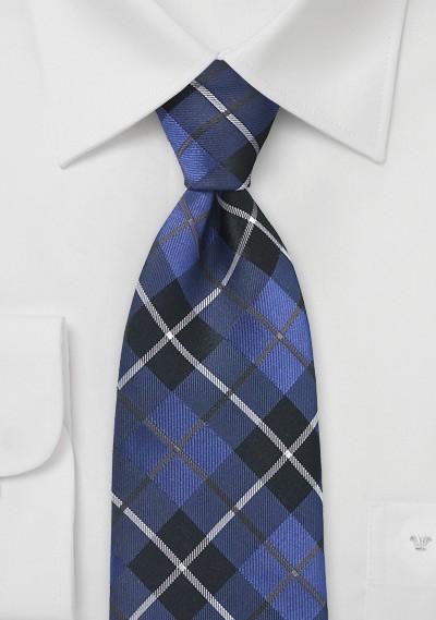 Tartan Plaid Tie in Royal Blue