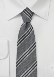 Skinny Striped Tie in Grays and Black