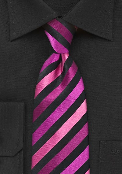 Diagonally Striped Tie in Pinks
