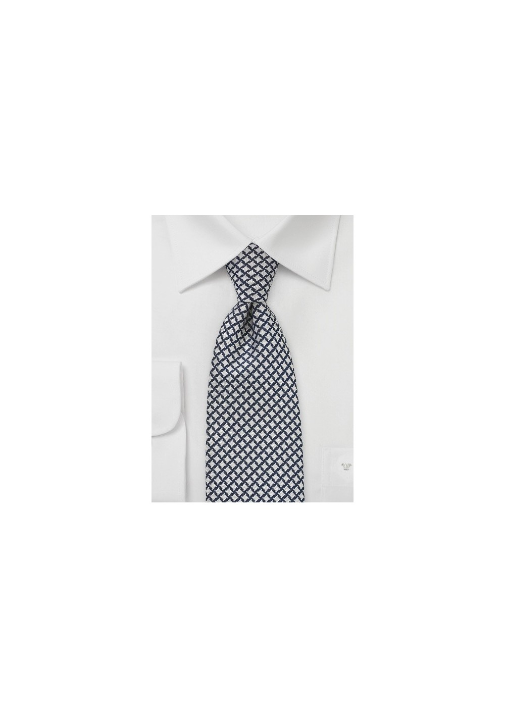 Dark Blue and Silver Houndstooth Check Tie
