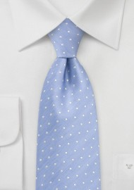 Modern Polka Dot Tie in Soft Blue