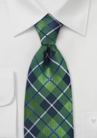 Modern Plaid Tie in Spring Green and Blue