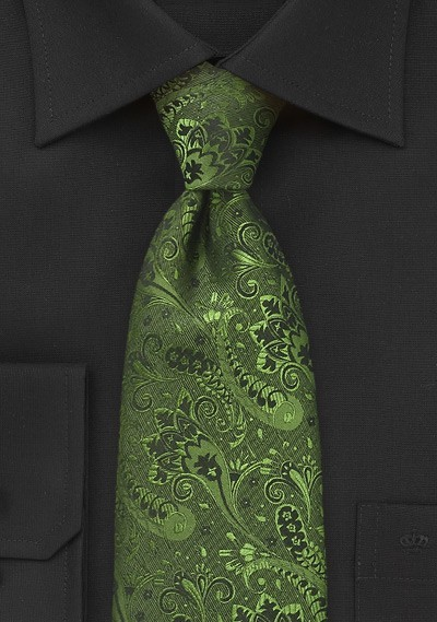 Floral Patterned Tie in Olive Green