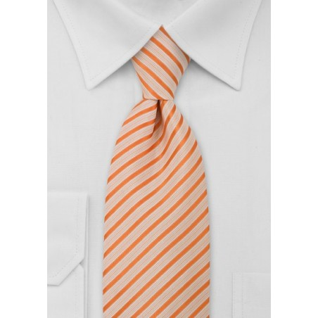 Striped Extra Long Tie in Orange and White