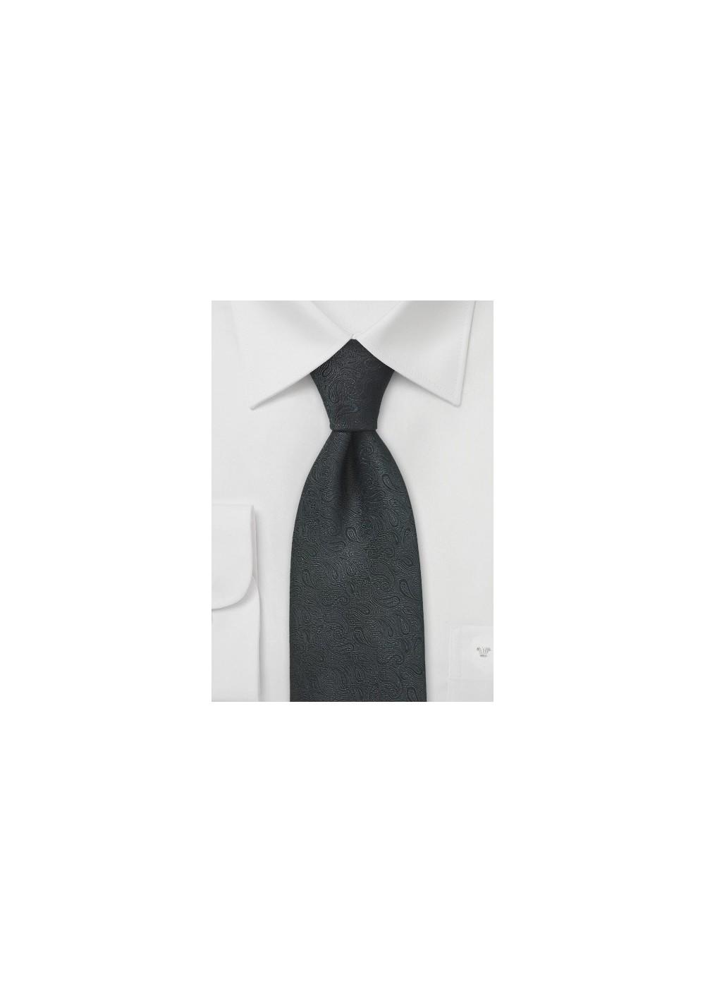 Monochromatic Black Paisley Tie