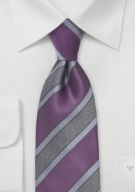 Graphic Striped Tie in Plum and Lilac