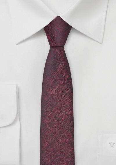 Ultra Skinny Tie in Heathered Wine Red